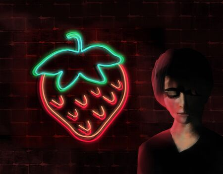 A woman, eyes cast downward considers her thoughts as she stands next to a brick wall at night and glowing neon strawberry sign.