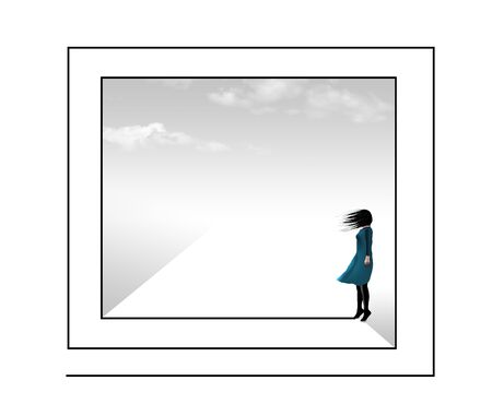 A girl is seen traveling through a labrynith or maze with wind blowing and clouds in the background.
