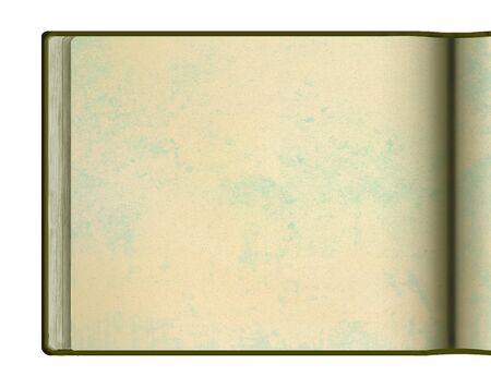A blank book page is seen here. It appears to be an old book, handmade paper, grunge texture and is isolated on a white background.