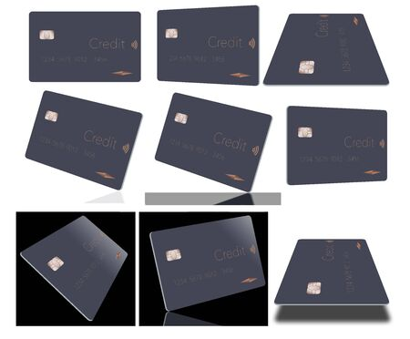 A simple contemporary credit card is viewed in eight different angles to provide a choice of images. Most images are isolated on a white background.  The card is flat dark grey. Stockfoto