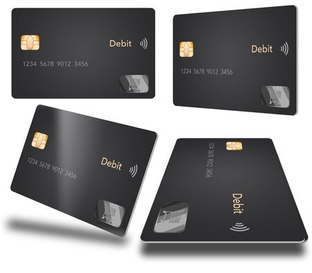 A debit card with a contemporary design is seen in four different positions. The grey card is isolated on a white background.