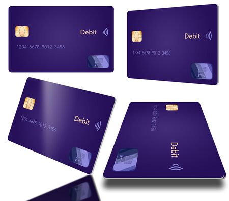A debit card with a contemporary design is seen in four different positions. The blue card is isolated on a white background.