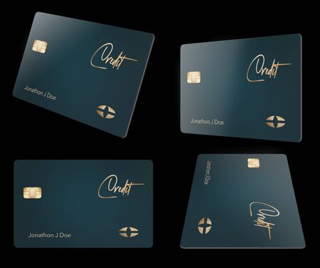 Contemporary design is featured on this credit card seen in four different angles. Cards are isolated on a black background.