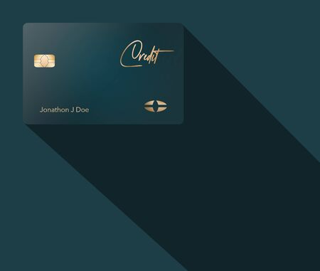 Here is a blue green credit card with gold lettering and designs shown on a similar colored background with a cast shadow.