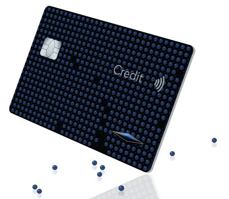 A beaded blue credit card is losing some of it's beads in this illustration isolated on white. Theme: Losing control of your credit cards.