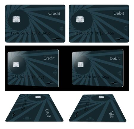Credit cards and debit cards are shown in 3 positions isolated on a white background or black background.