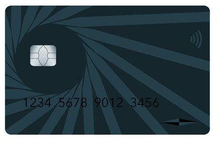 A contemporary credit card is seen isolated on a white background.