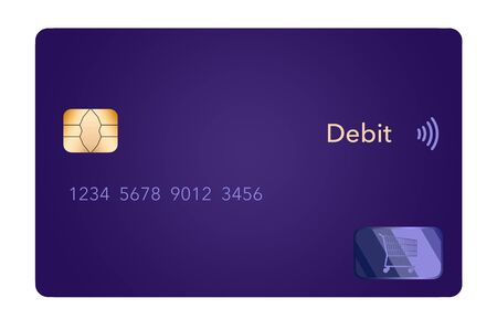 A contemporary purple credit card is seen isolated on a white background. 版權商用圖片