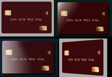 A contemporary red credit card is seen in four different views. Gold lettering is on the card.
