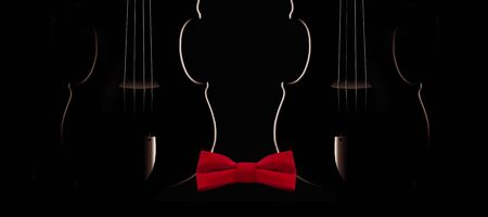 The shape of two violins suggests a head shape that is wearing a bowtie for a formal concert event.