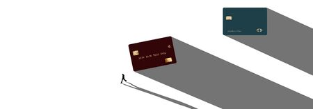 Two contemporary design credit or debit cards cast long shadows when seen from above. A human figure also casts a long shadow in this illustration.