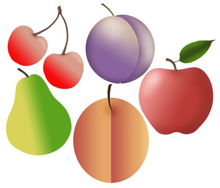 Cherries, a plum,  a peach, an apple and a pear are seen isolated on a white background.