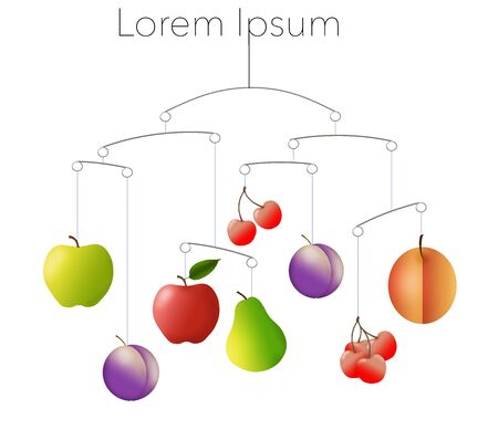 Fruits hang balanced as part of a mobile work of art to support the theme of eating a balanced diet. Image is isolated on a white background with an area for text of copy or art.