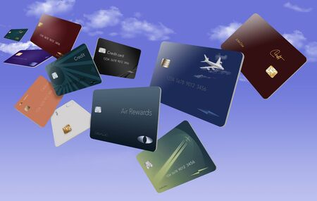 Air miles rewards credit cards are seen floating in the sky