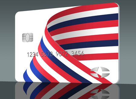 A patriotic red white and blue ribbon decorates a generic mockup of a credit card or debit card. Image is isolated on grey background. Stockfoto