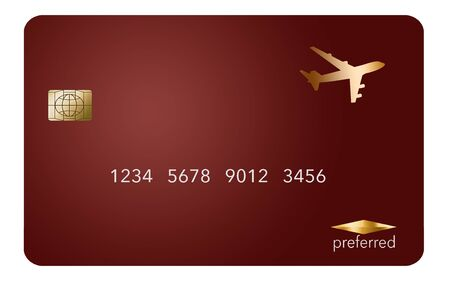Here is a red generic mockup of a air rewards credit card isolated on white. Stockfoto