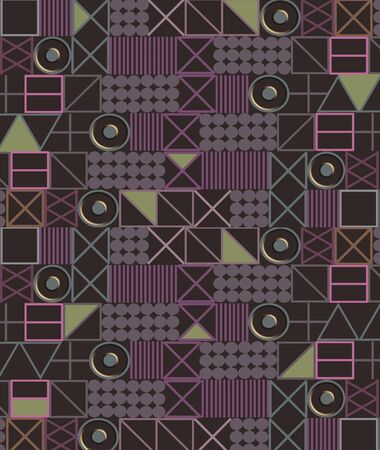 Geometric designs are arranged on a page in muted tones to create a background image.