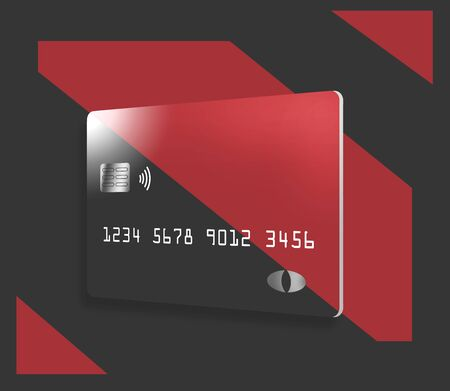 A colorful credit card or debit card that is generic is seen on a correspondingly colorful background.
