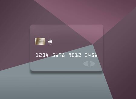 A colorful credit card or debit card that is generic is seen on a correspondingly colorful background. Stockfoto