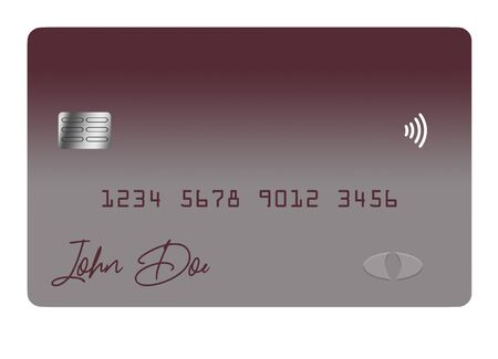 A credit card or debit card that is generic is seen  isolated on a white background. Stockfoto