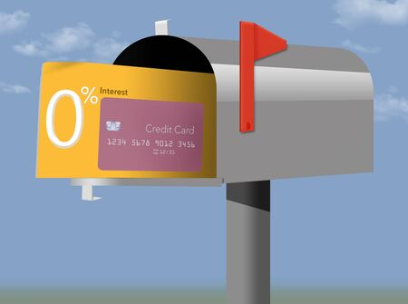 A credit card offer of zero percent interest rate is seen in a mailbox.
