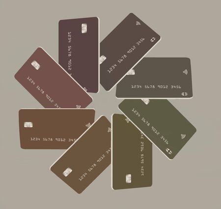 Eight mock generic credit cards or debit cards  in subdued pastel colors are arranged in a circular pattern and isolated on a light background.