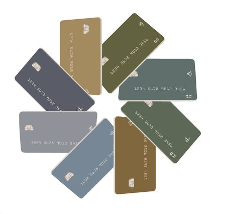 Eight mock generic credit cards or debit cards  in subdued pastel colors are arranged in a circular pattern and isolated on a white background.