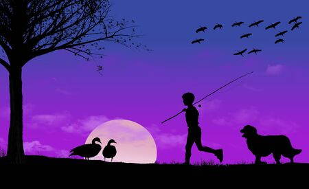A boy with his fishng pole and his dog are seen returning h ome at sunset. Geese and cranes are seen also.  Stockfoto