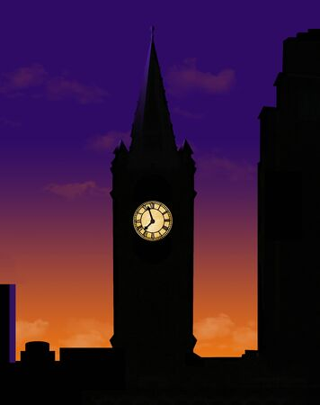 A clock tower is seen silhouetted at sunset with it's lighted clock face glowing in the dark.