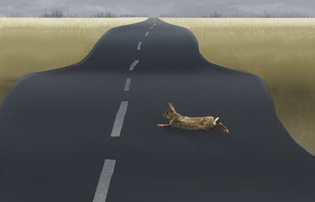 A rabbit is seen running across a road in a rural setting in this illustration.
