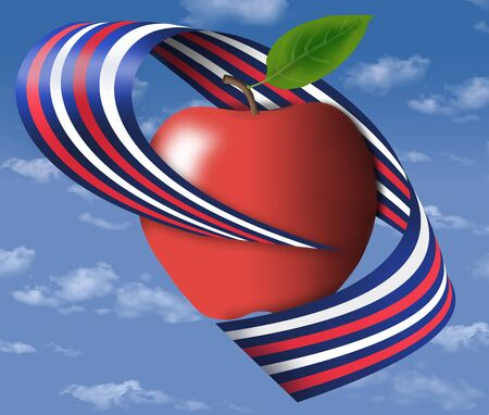 A bright red apples is wrapped in a red, white and blue ribbon and floats in the blue sky with white clouds.
