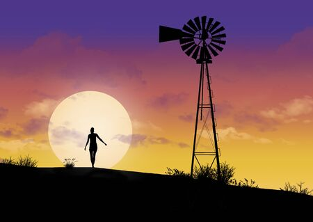A girl and a vintage windmill are seen silhouetted at sunset.