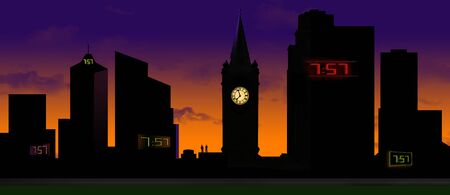 A traditional clock tower is seen silhouetted at sunset with it's lighted clock face glowing in the dark and it is surrounded by modern digital clocks on nearby buildings. Stockfoto