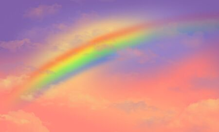 Here is a fantasy sky with a rainbow to be used as a background image. Text area. All colors.