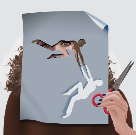 A woman looks closely at a clever cutout figure that appears to be reaching out helping hands to the paper figure created by the cut.