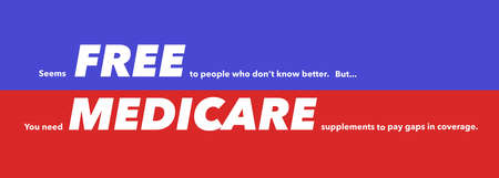Here is a bumper sticker that at first glance reads: FREE MEDICARE. A closer look at the fine print tells a different story. 版權商用圖片