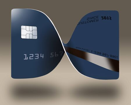 A credit card or debit card is twisted, bent into the shape of bow tie or ribbon bow in this illustration. The blue card hovers and casts soft shadow. 写真素材