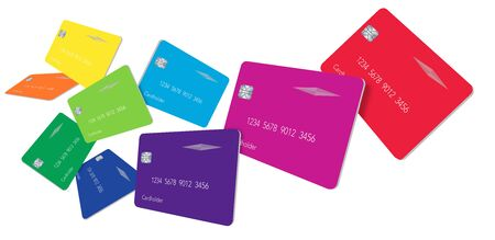 Nine credit card or debit cards in the colors of the spectrum float above a white background in this 3-D illustration.