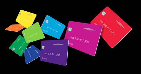Nine credit card or debit cards in the colors of the spectrum float above a black background in this 3-D illustration. Banco de Imagens