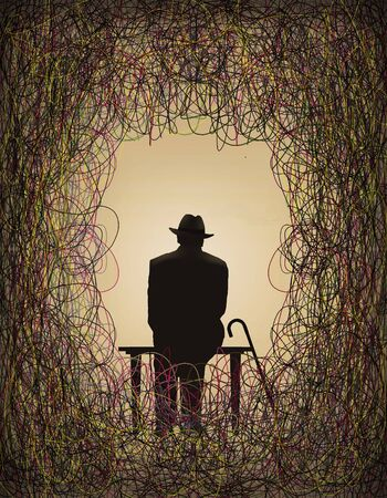 An old man sits on a bench with his cane and is surrounded by a tangle of colorful tangles of trouble, problems and fears of aging. Foto de archivo