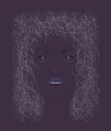 A girl with fine curly hair is seen in this illustration.
