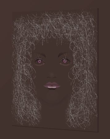 An African American girl with a tangle of hair is seen in this illustration isolated on a brown background.