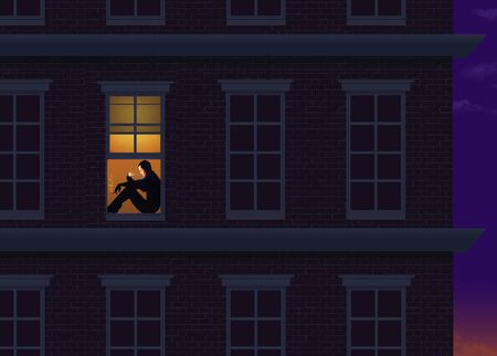 An apartment dweller sits on his window sill as night falls. He is looking at his cell phone as he passes time during self quarantine for coronavirus. This is an illustration.