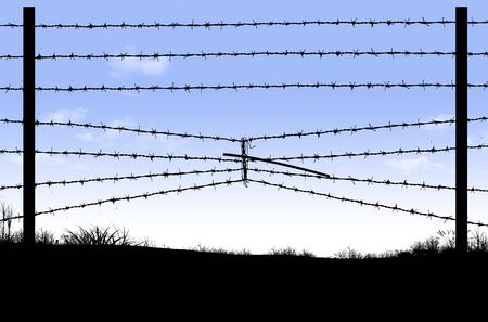 Here is a border fence on the southern border of the USA that has barbed wire compressed to make an opening underneath for an opening to cross into the USA illegally.