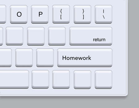 "Remote learning is now common and here a student's keyboard shows the word ""homework"" on one of the laptop's keys on the keyboard."