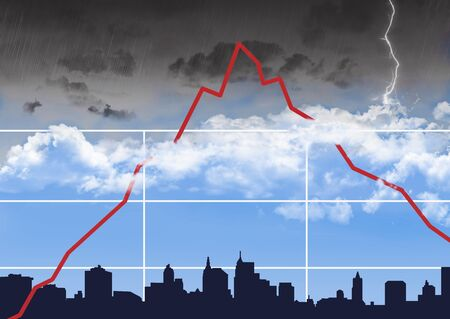 As the stock market chart goes into uncharted highs stormy weather is encountered and the market chart over a city shows a fall.