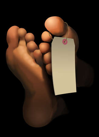 Feet of a deceased person are depicted in this illustration. A blank toe tag hangs on the feet. This is an area for your own copy (text). 版權商用圖片