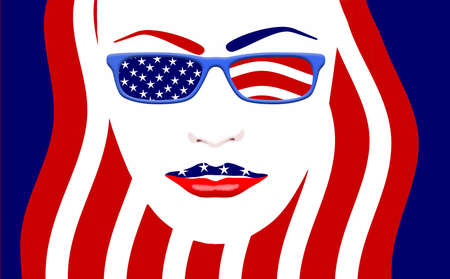 July 4th, Independence Day in the USA is illustrated with a pretty girl with stars and stripes in her eyeglasses. This is an illustration.