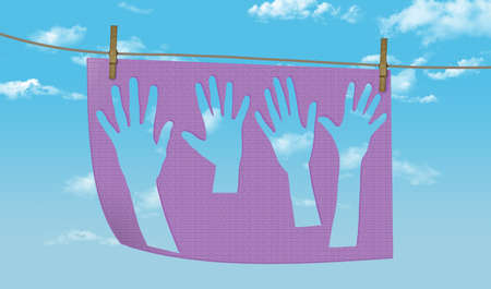 The shape of hands are seen on a towel drying outside on a clothesline in this illustration about washing hands to prevent illness. 版權商用圖片