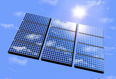 Alternative energy solar panels are seen with a bright blue sky and the sun and sunshine.